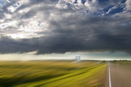 Highway on the Prairie with motion blur. photo