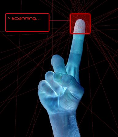 A single finger being held in the air on a mans hand being scanned for identity. Stock Photo - 342299