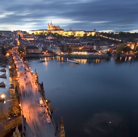 A view of the Prague Castle in the early evening, view from the Old Town Bridge Tower. photo
