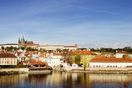 vltava: Prague castle from a distance, overlooking the Vltava (or Moldau) river, Prague, Czech Republic. Stock Photo