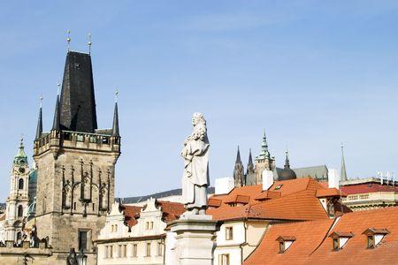Roof top detail in Prague, Czech Republic. photo