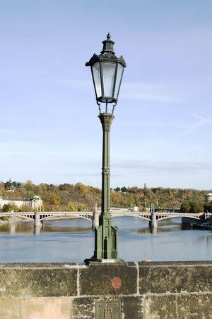 Charles Bridge lamp post detail, Prague, Czech Republic. photo