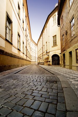 mood moody: A quaint tiny alley (Seminarska) in Prague, Czech Republic Stock Photo