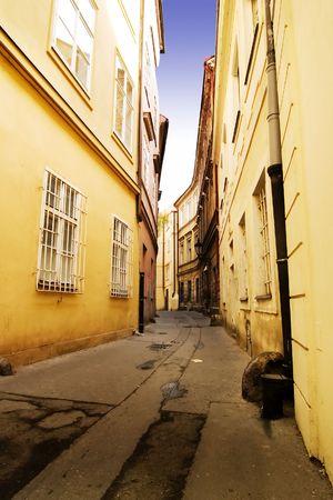 A quaint tiny alley (retezova) in Prague, Czech Republic photo