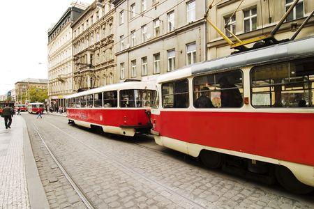 trolly: Prague Streetcar detail, Czech Reublic Stock Photo