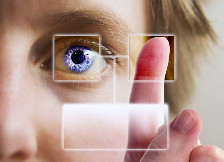 A finger print being compared to an iris scan.