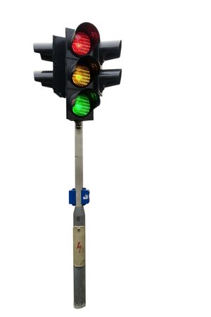 An isolated traffic light from Prague with all lights lit. photo