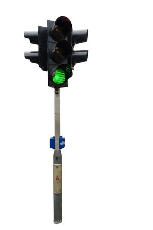 An isolated traffic light from Prague with the green light showing Stock Photo - 378847