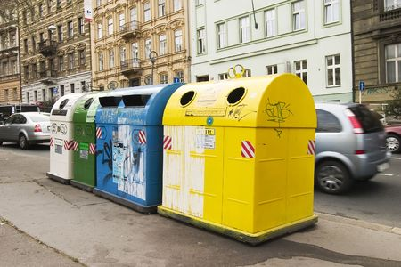 consume: Recycling containers in Prague Czech Republic. Stock Photo