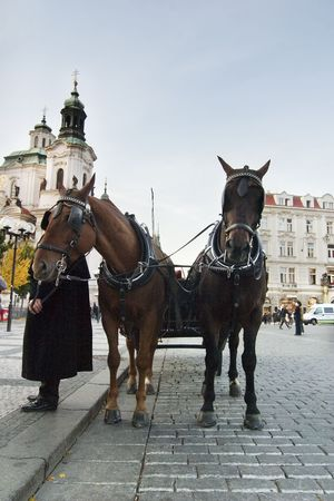 A horse drawn cart in the old part of Prague, Czech Republic. photo