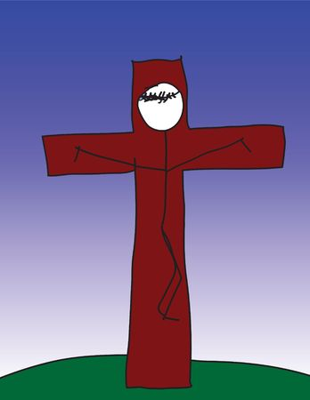 A vector image of a child like drawing of Jesus on the cross. photo