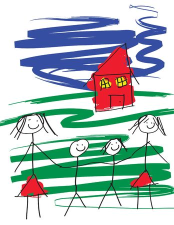 A child like drawing of a gay female pair of women with two children and a house. The image is in vector format. Stock Photo - 378824