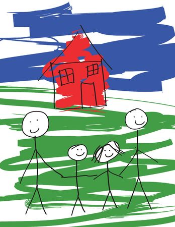 messy house: A child-like drawing of a pair of gay males, and their kids. Vector drawing in format.