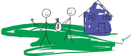 resale: A child like drawing in vector format of a stick man selling a house to another.  Would also work for renting concept.
