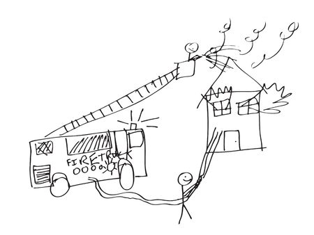 A vector format image of a child like drawing of firemen trying to save a burning house. photo