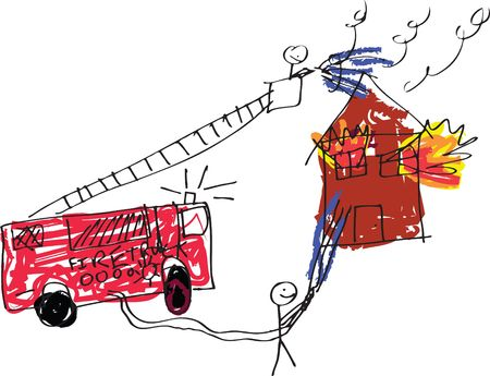 excite: A vector format image of a child like drawing of firemen trying to save a burning house.
