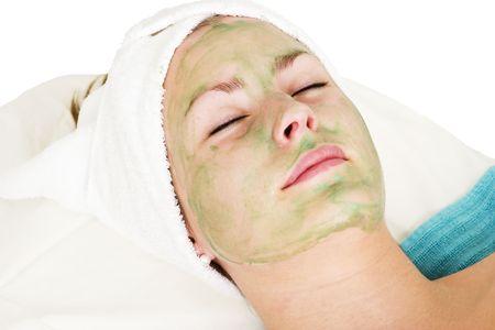 Aloe Vera facial preparation at a beauty spa. photo