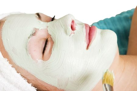 applied: A detail image of a green apple mask being applied at a beauty spa.