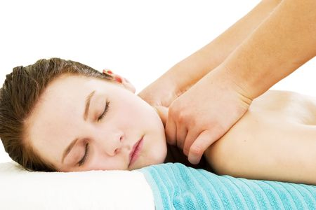 A close up image of a woman receiving a shoulder and back massage. Stock Photo - 378638