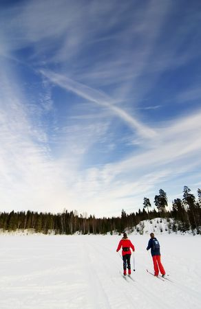 scandinavian people: Skiing on a bright sunny day