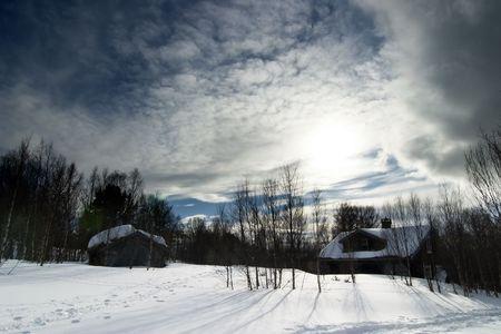 snow break: A winter night cabin scene