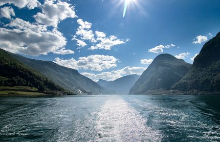 Fjord landscape in the western area of Norway, Aurlandsfjord in Sognefjord. photo