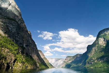 Fjord Scenic from the pass between Aurlandsfjord and naeroyfjord (n�r�yfjord), in Sognefjord, Norway photo