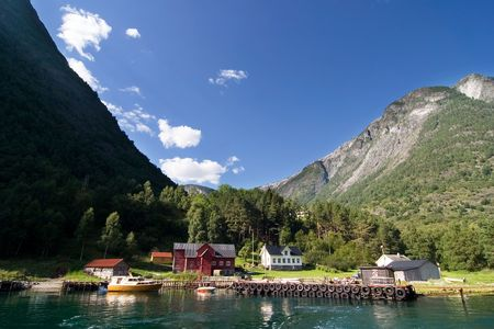 Mountain farm in the Sognefjord, Norway. photo
