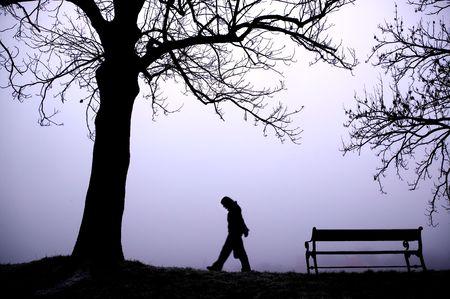 walking alone: Una persona caminando solos en la niebla espesa.