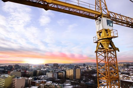 A detail of a crane overlooking the Oslo fjord and city of Oslo. photo