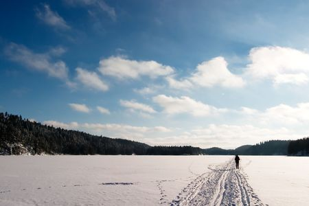 Cross country ski trails on a beautiful blue winters days. Stock Photo - 859257