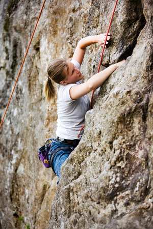 Female Rock Climber Stock Photo - 1543504