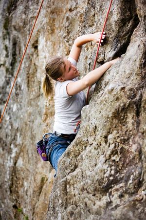 Female Rock Climber Stock Photo - 1543504