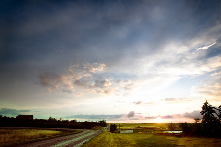 A sunset after a rain storm in rural Saskatchewan, Canada photo
