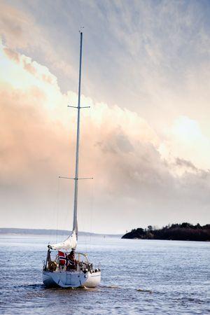 fredrikstad: A small sail boat near Fredrikstad, Norway Stock Photo