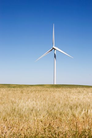 A wind turbine on the beautiful prairies photo