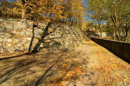 romatic: A romatic stone walkway in the autumn