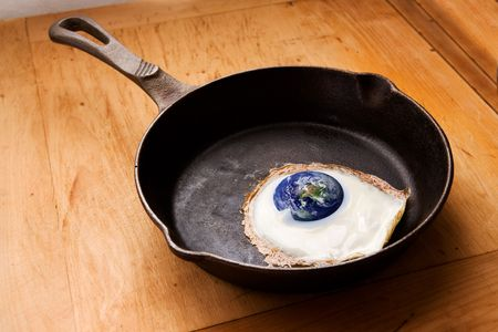 Global Warming - A concept image of the earth in a frying pan. Stock Photo - 1894903