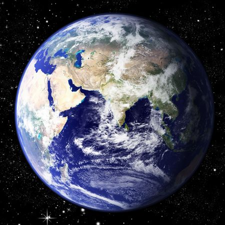 hemisphere: The world seen from the east hemisphere set in space with litteraly millions of stars Stock Photo