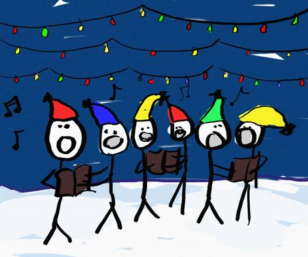 songbook: A child like drawing of a group of christmas carolers with lights Stock Photo