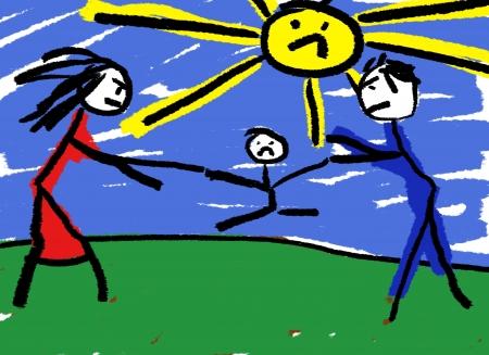 Eine kindliche Zeichnung zur Veranschaulichung der Scheidung mit dem Kind über bekämpft werden in der Mitte.