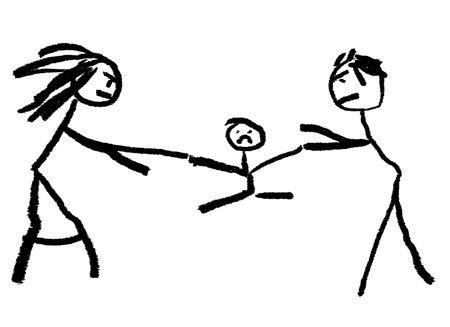 Un infantil de dibujo que ilustra el divorcio con el niño se disputan en el centro.  Foto de archivo
