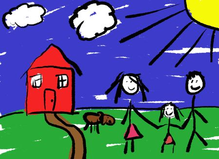A childlike drawing of a happy family in front of their house with a dog. Stock Photo - 2071285