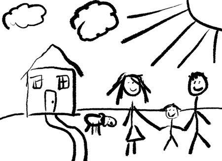 Un dibujo infantil de una familia feliz frente a su casa con un perro.