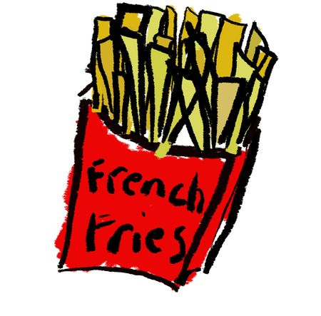 A childlike drawing of a box of french fries Stock Photo - 2071282