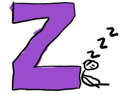 snore: A childlike drawing of the letter Z, with a stick person sleeping making ZZZs