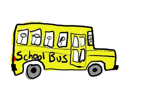 childlike: A childlike drawing of a school bus full of kids