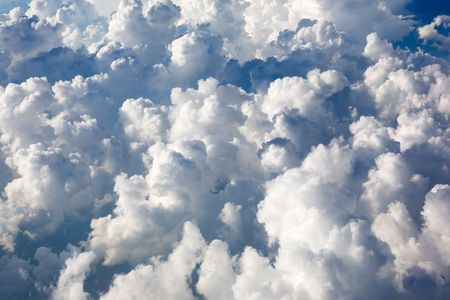 cumulus: A view of cumulus clouds from above Stock Photo