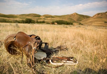 A western saddle laying on the prairie grassland with horses and rolling hills in the background