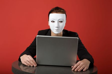 technology deal: A female surfing the web anonymously